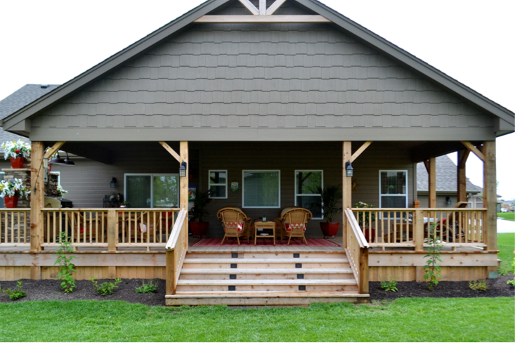 Western Red Cedar Deck with Gable Style Deck Roof